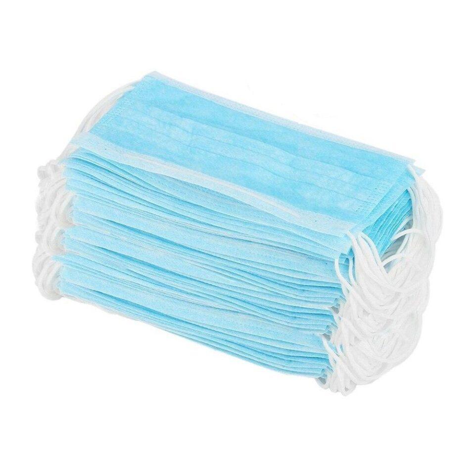 Маска медиц. 3-х слойная голубая (уп.100 шт.) 10%: