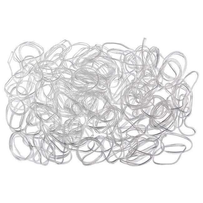 RES037 Резинки для волос DEWAL, силиконовые, белые mini 100 шт/уп