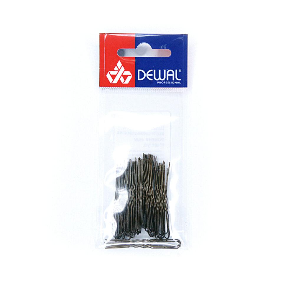 Шпильки DEWAL коричневые, волна, тонкие 45 мм, 60 шт/уп, на блистере